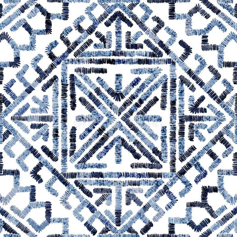Modello geometrico senza cuciture ricamato Ornamento per il tappeto Motivi etnici e tribali Stampa variopinta di fatto a mano Vet royalty illustrazione gratis
