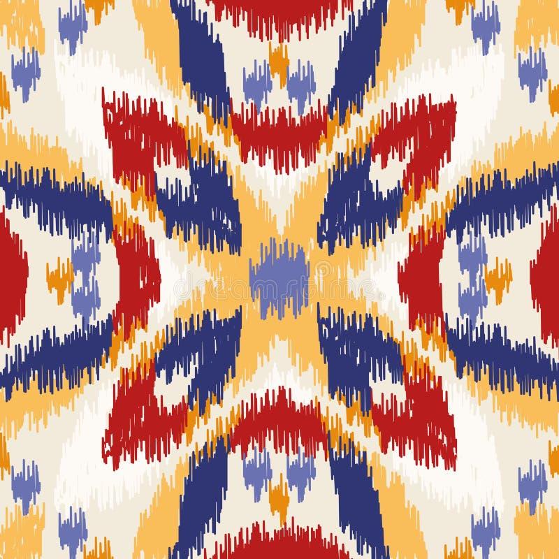 Modello geometrico senza cuciture, stile del tessuto del ikat illustrazione di stock