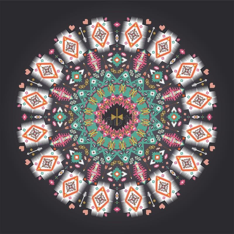 Modello geometrico variopinto rotondo ornamentale dentro illustrazione vettoriale