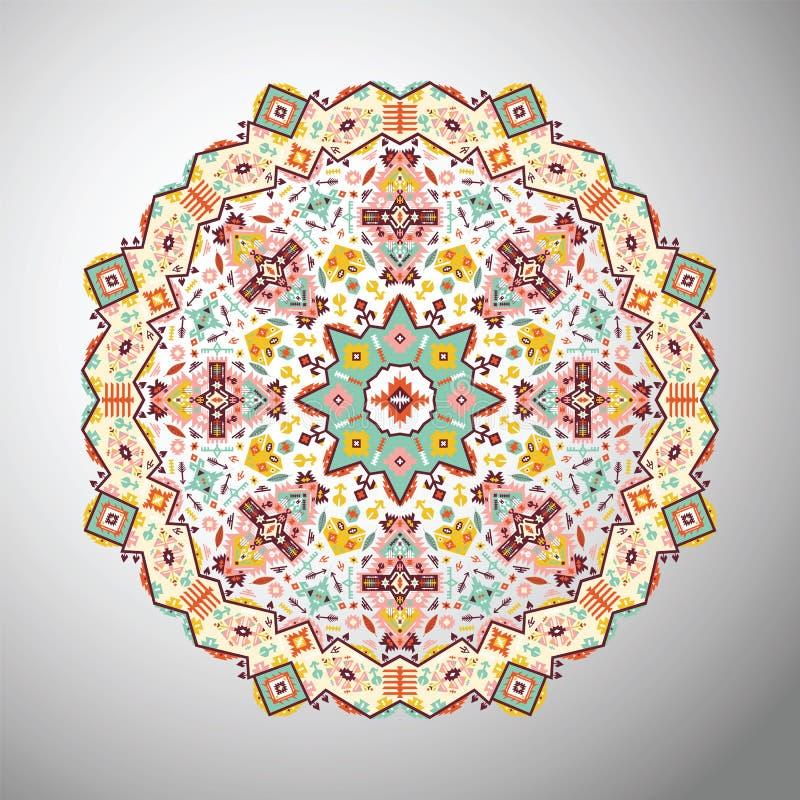 Modello geometrico variopinto rotondo ornamentale nello stile azteco illustrazione vettoriale