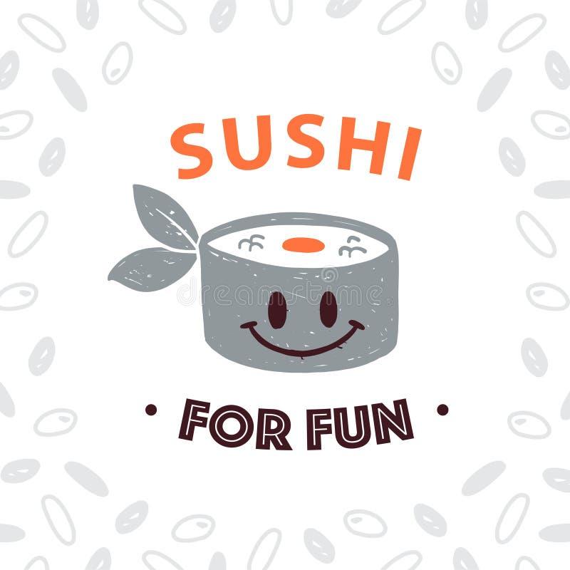 Modello giapponese di progettazione di logo dell'alimento di vettore con l'icona dei sushi ed il modello sorridenti del riso isol illustrazione vettoriale