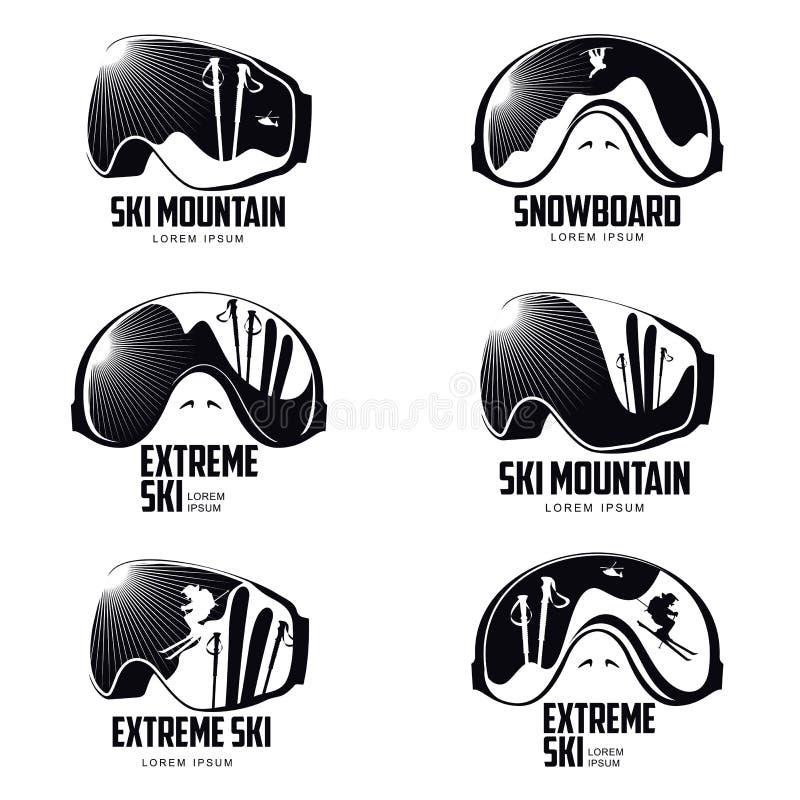 Modello grafico in bianco e nero di logo degli occhiali di protezione dello sciatore della montagna royalty illustrazione gratis