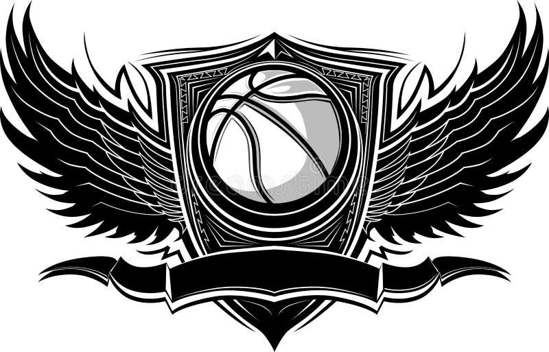 Modello grafico decorato della sfera di pallacanestro illustrazione di stock