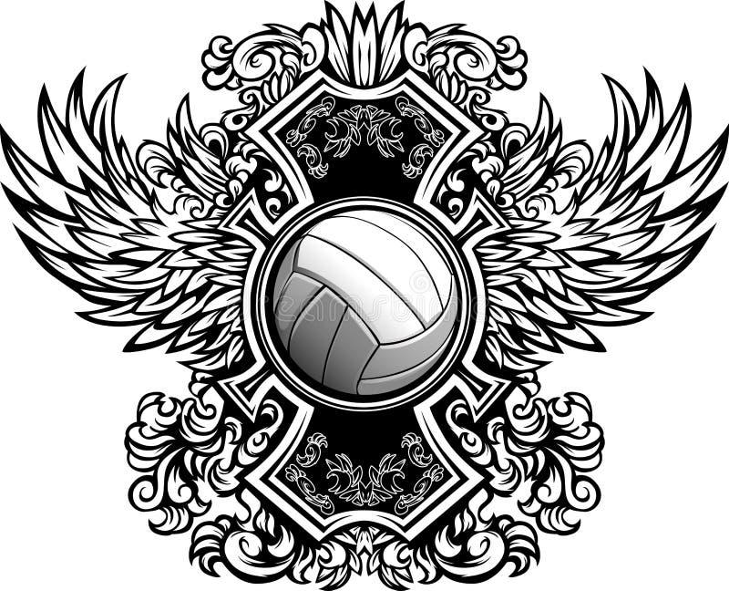 Modello grafico decorato di pallavolo royalty illustrazione gratis