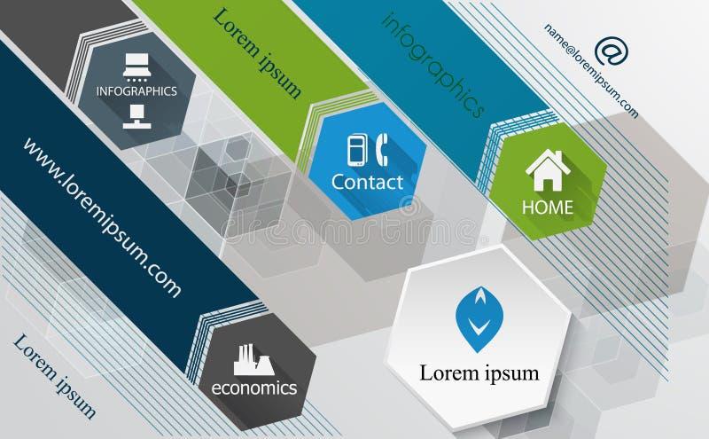 Modello grafico del modello-manifesto di progettazione di tecnologia di informazioni, brochur illustrazione vettoriale