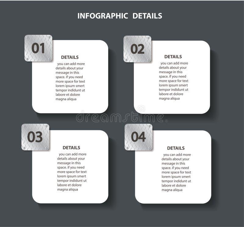 Modello grafico di informazioni del metallo del piatto con 4 opzioni Posso essere usato per il web, il diagramma, il grafico, la  royalty illustrazione gratis