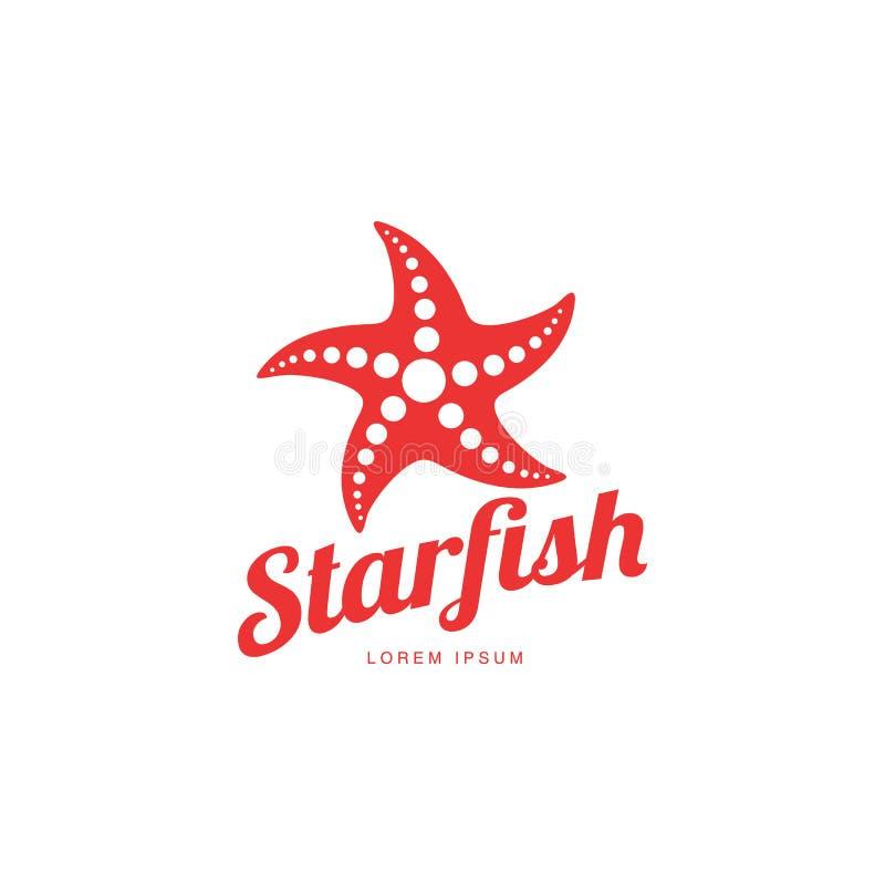 Modello grafico di logo delle stelle marine della siluetta, concetto di vacanze estive illustrazione vettoriale