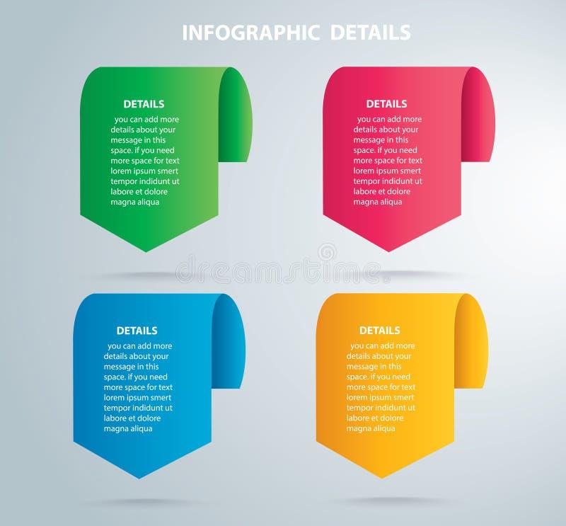Modello grafico di vettore di informazioni quadrate con 4 opzioni Può essere usato per il web, il diagramma, il grafico, la prese illustrazione vettoriale