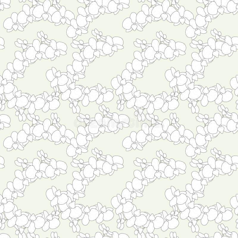 Modello grazioso senza cuciture nell'orchidea sveglia dei fiori bianchi su fondo blu-chiaro Stampa floreale per il tessuto, fabbr royalty illustrazione gratis