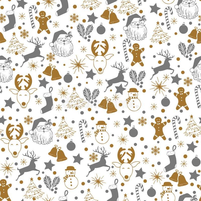 Modello grigio di Natale e dell'oro senza cuciture su fondo bianco con i cervi, pupazzo di neve, caramella, calzino, stella, icon royalty illustrazione gratis