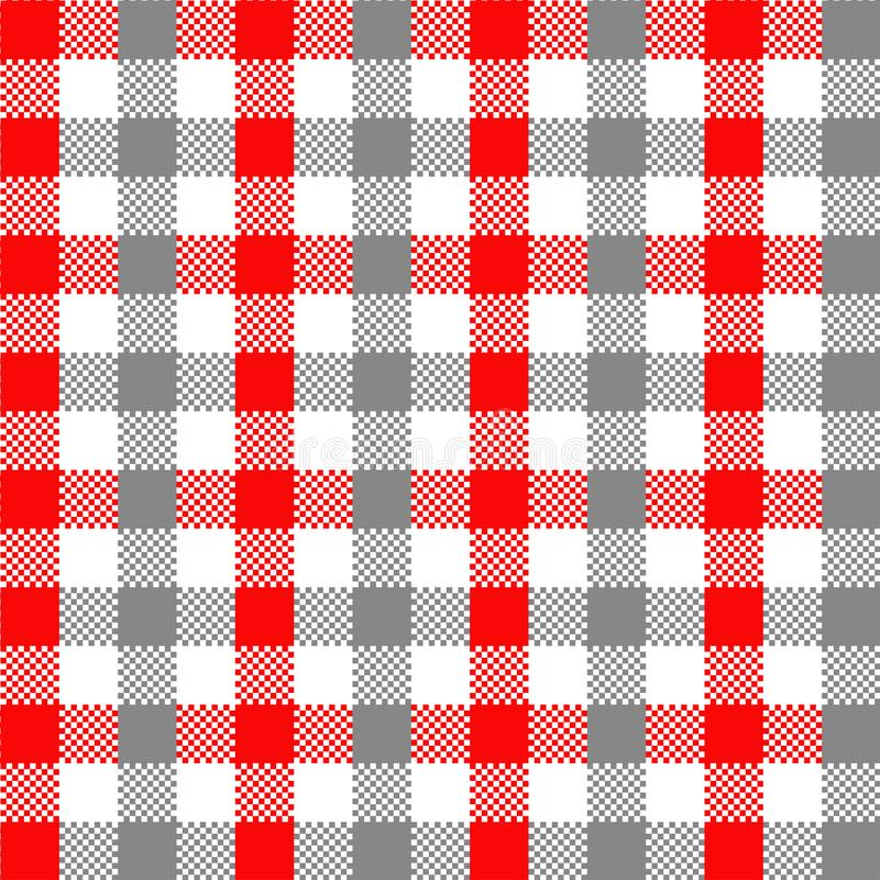Modello grigio e rosso del percalle illustrazione vettoriale