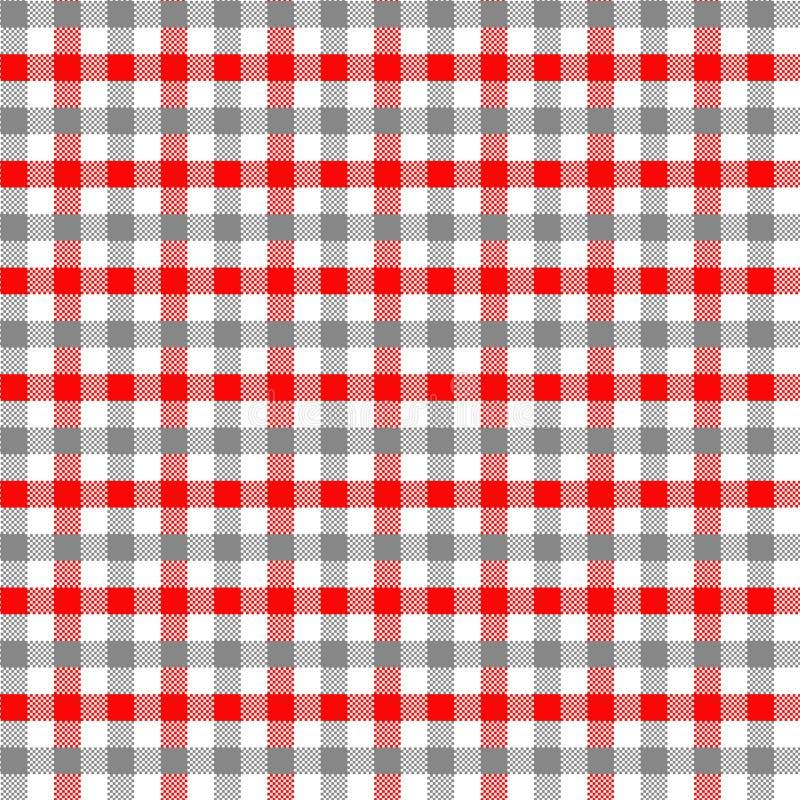 Modello grigio e rosso del percalle illustrazione di stock