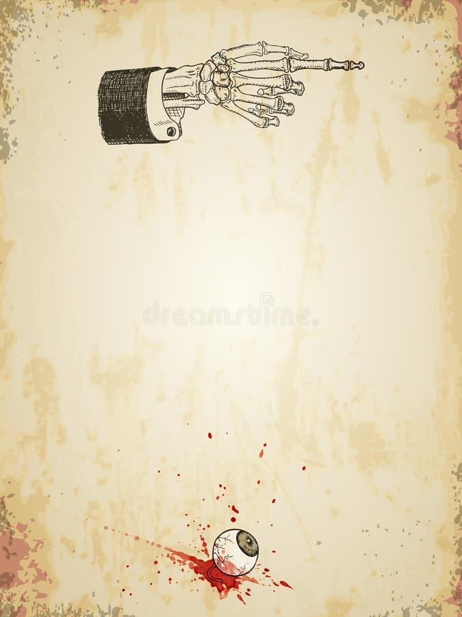 Modello grungy del manifesto di Halloween con la mano di scheletro ed il bulbo oculare sanguinoso, annata disegnata illustrazione vettoriale
