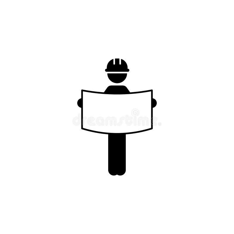 modello, icona del lavoratore di piano Elemento del muratore per i apps mobili di web e di concetto Il modello dettagliato, icona illustrazione vettoriale