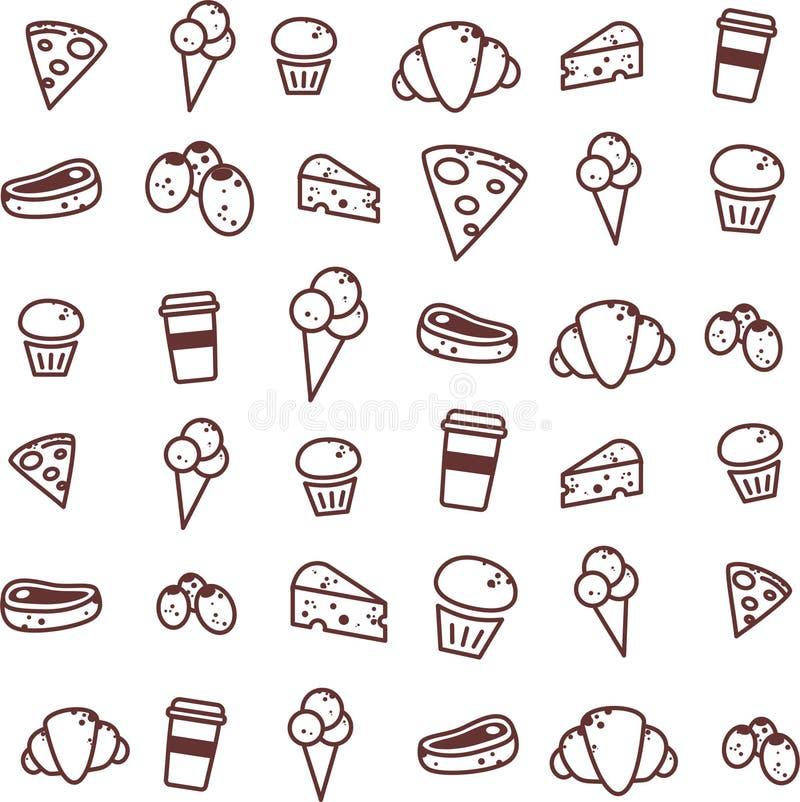 Modello/icona/icone/semplice senza fine dell'alimento immagine stock