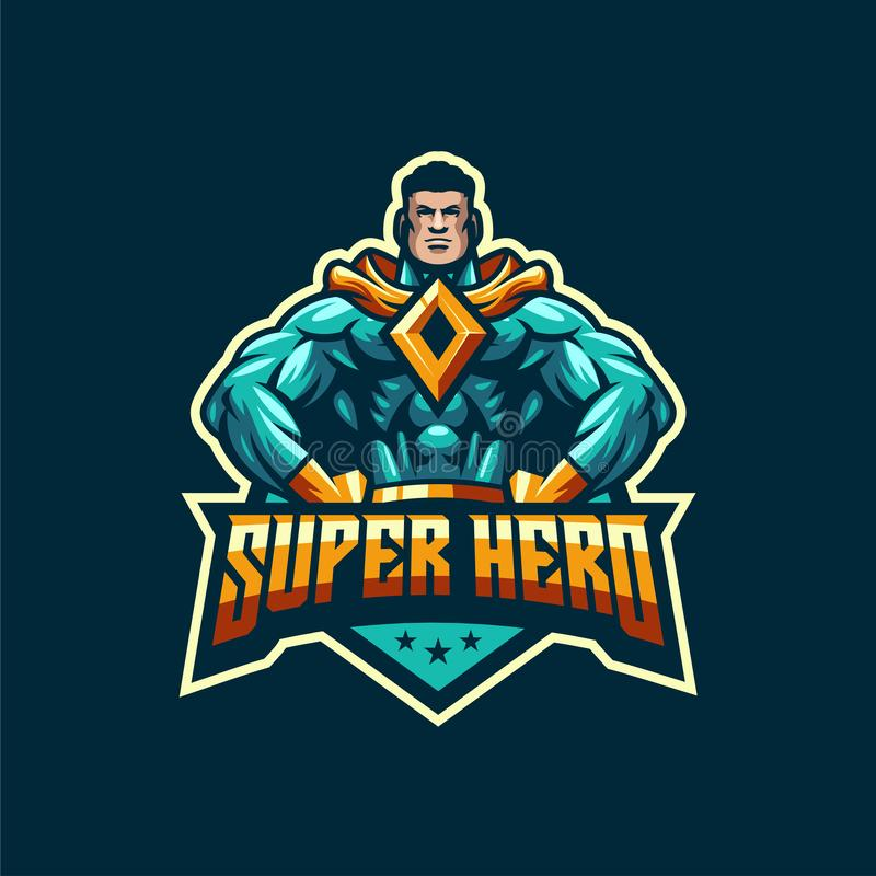 Modello impressionante di logo dell'eroe eccellente illustrazione di stock