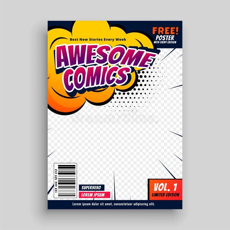 Modello impressionante di progettazione della copertina del libro di fumetti illustrazione di stock