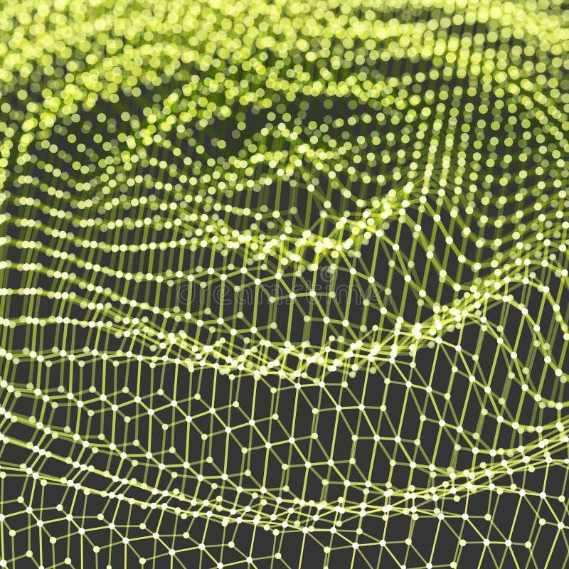 Modello increspato del fondo Illustrazione di tecnologia o di scienza astratta con la particella superficie di griglia 3D Può ess illustrazione vettoriale