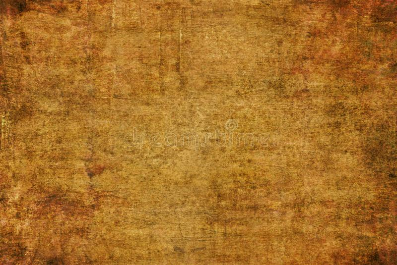 Modello incrinato giallo scuro Autumn Background Wallpaper di struttura della pittura della tela di Brown Rusty Distorted Decay O fotografie stock libere da diritti