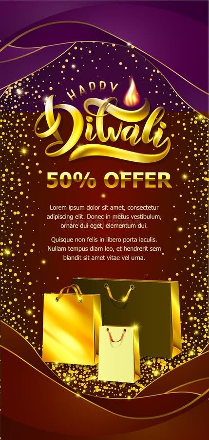 Modello indiano felice dell'aletta di filatoio di vendita di festival di Diwali Vector il testo brillante Diwali, sacchetti della illustrazione di stock