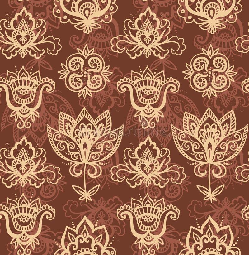 Modello indiano senza cuciture basato sugli elementi asiatici tradizionali Paisley royalty illustrazione gratis