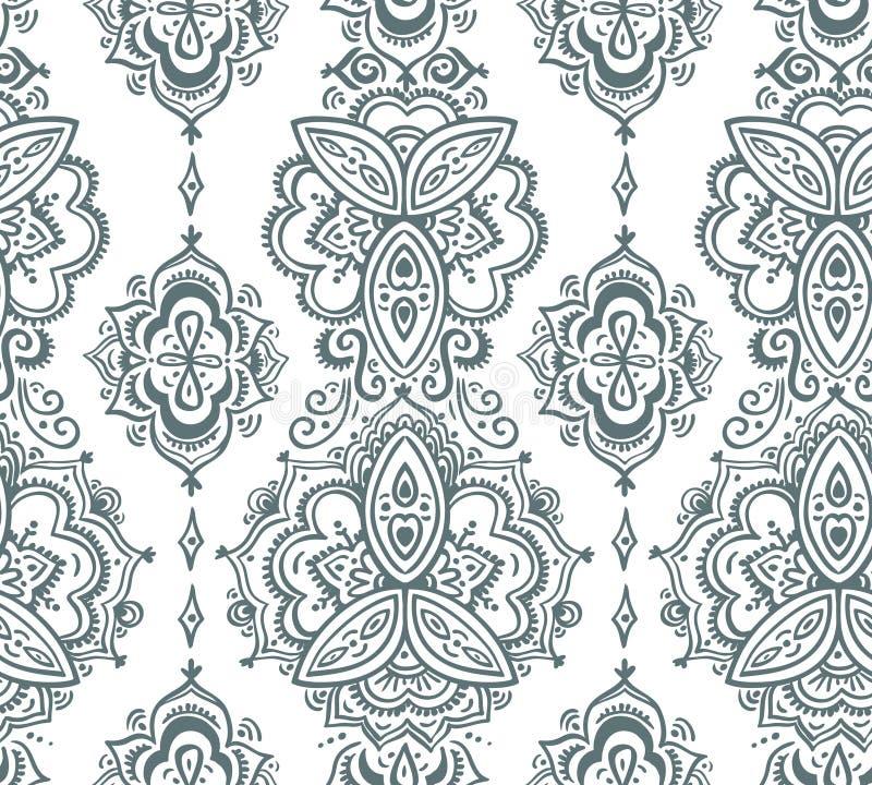 Modello indiano senza cuciture basato sugli elementi floreali asiatici tradizionali Paisley illustrazione di stock