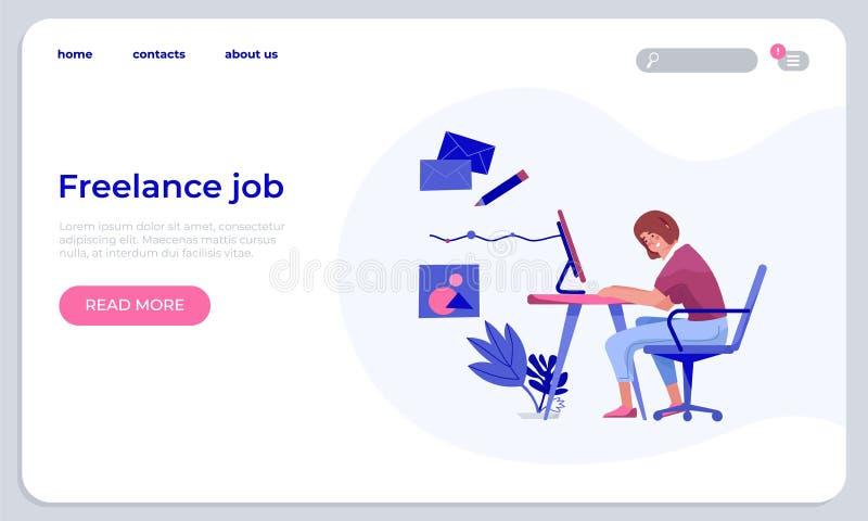 Modello indipendente di atterraggio di lavoro Sito Web online di funzionamento professionale della giovane donna a casa Web owork illustrazione di stock