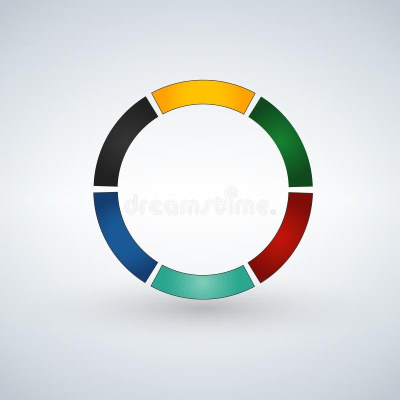 Modello infographic astratto con 6 punti per successo Modello del circolo con le opzioni per l'opuscolo, diagramma, flusso di lav illustrazione di stock
