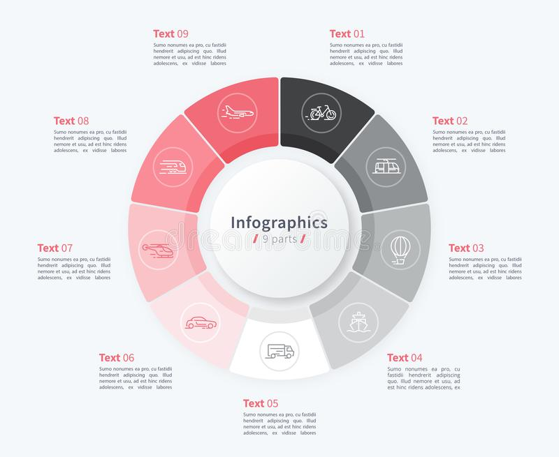 Modello infographic del cerchio alla moda del diagramma a torta 9 parti illustrazione di stock