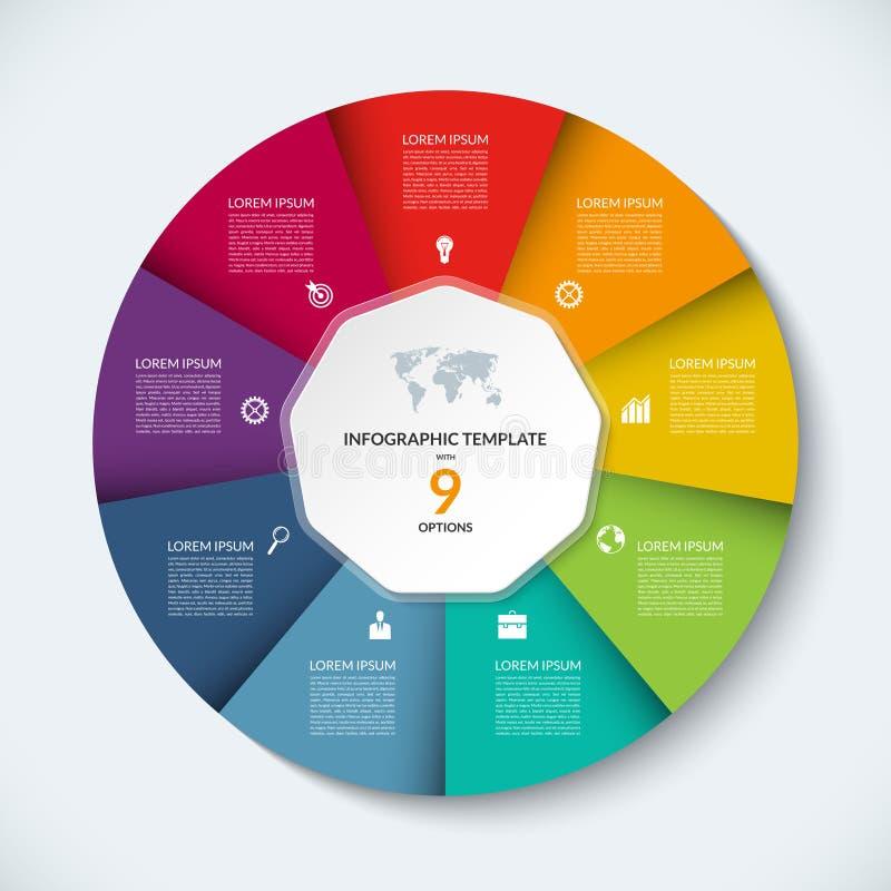 Modello infographic del cerchio di vettore Concetto di affari con 9 opzioni illustrazione di stock