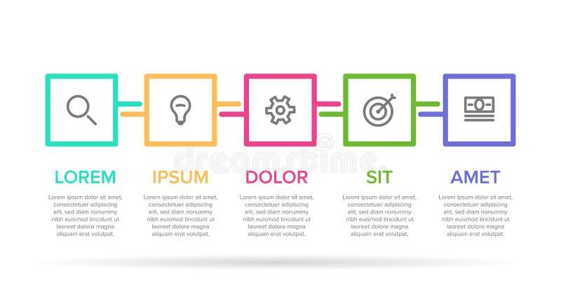 Modello infographic dell'etichetta di vettore con le icone 5 opzioni o punti Infographics per il concetto di affari può essere us illustrazione di stock