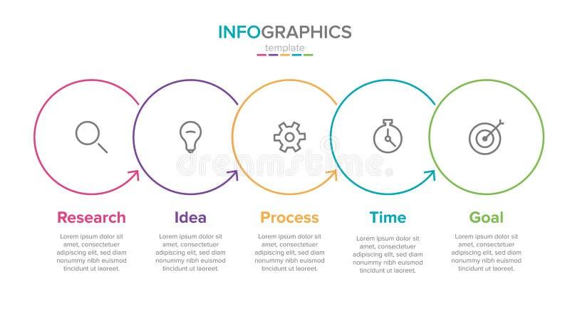 Modello infographic dell'etichetta di vettore con le icone 5 opzioni o punti Infographics per il concetto di affari pu? essere us illustrazione vettoriale