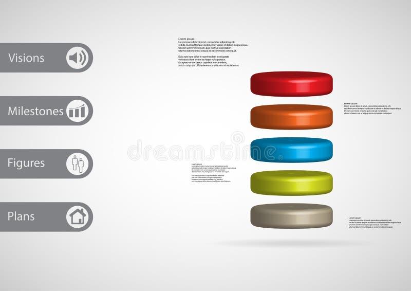 modello infographic dell'illustrazione 3D con il cilindro diviso orizzontalmente a cinque fette di colore illustrazione di stock