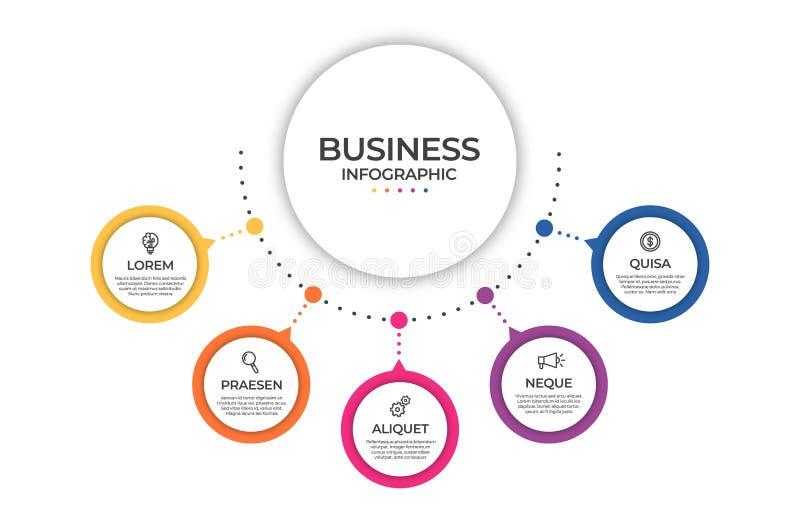 Modello infographic di affari Concetto di cronologia per visualizzazione infographic e di dati di gestione di presentazione, di r illustrazione di stock