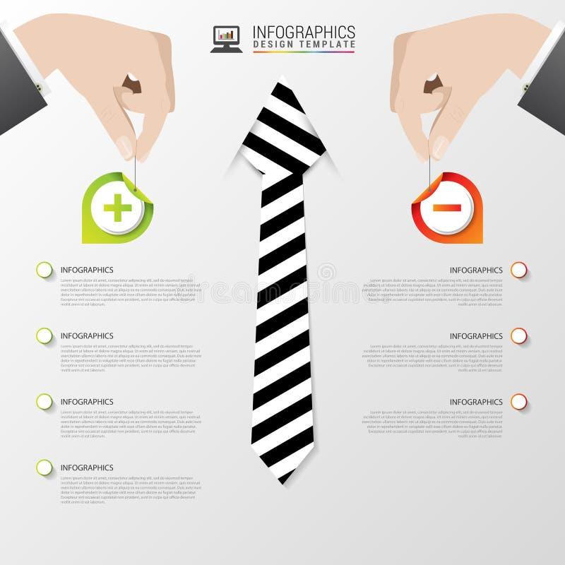 Modello infographic di affari Disegno moderno Pro - e - contro Illustrazione di vettore illustrazione di stock