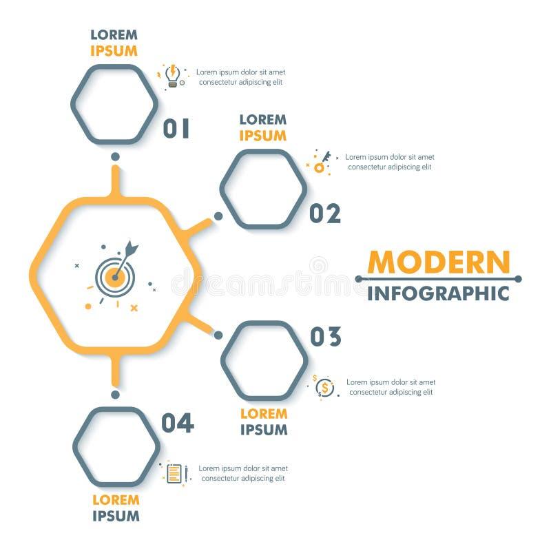 Modello infographic di affari Infographics esagonale moderno Tim illustrazione di stock