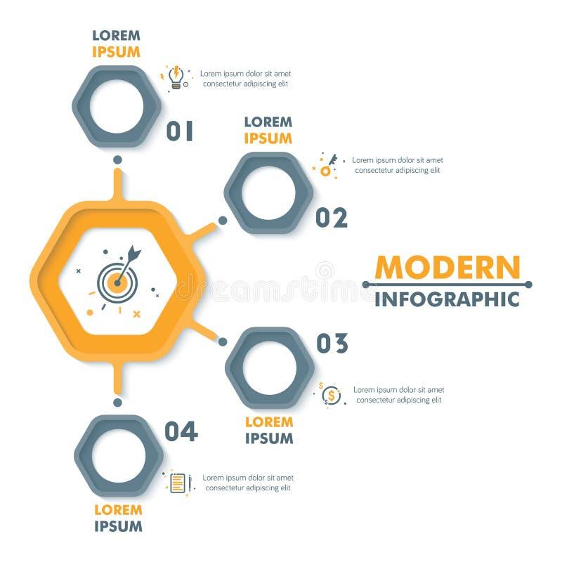 Modello infographic di affari Infographics esagonale moderno Tim illustrazione vettoriale