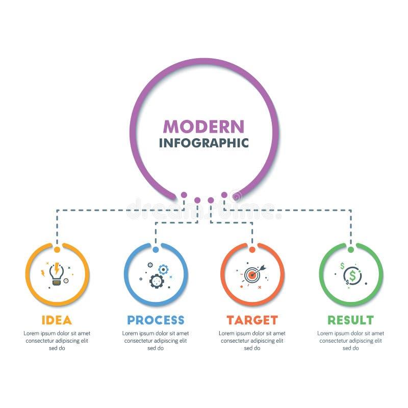 Modello infographic di affari Progettazione moderna di cronologia di Infographics Illustrazione variopinta di vettore illustrazione di stock