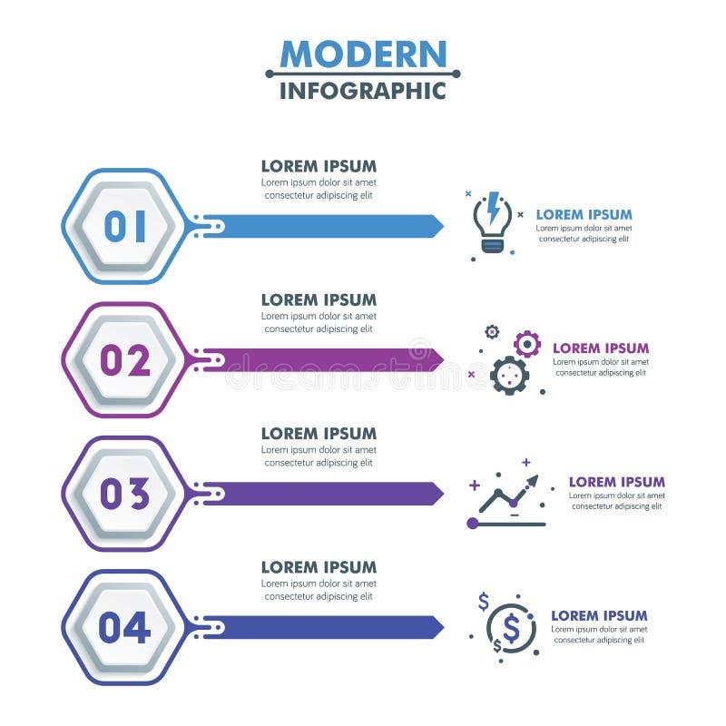 Modello infographic di affari Tempo esagonale moderno di Infographics illustrazione vettoriale