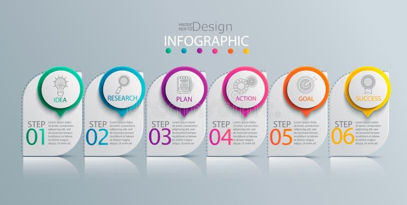 Modello infographic di carta con 6 opzioni royalty illustrazione gratis