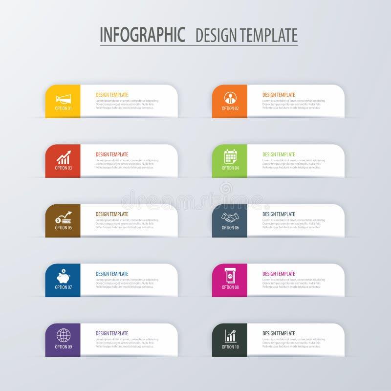Modello infographic di opzioni di indice moderno della linguetta con gli strati di carta illustrazione vettoriale