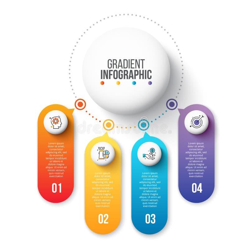 Modello infographic di presentazione con 4 punti, opzioni, parti o processi Grafico trattato Schema astratto illustrazione vettoriale