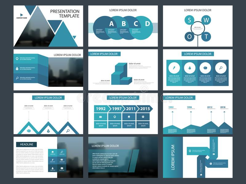 Modello infographic di presentazione degli elementi del pacco blu del triangolo rapporto annuale di affari, opuscolo, opuscolo, a illustrazione vettoriale