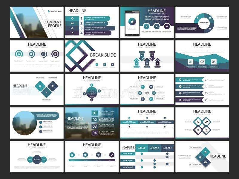 Modello infographic di presentazione degli elementi del pacco rapporto annuale di affari, opuscolo, opuscolo, aletta di filatoio