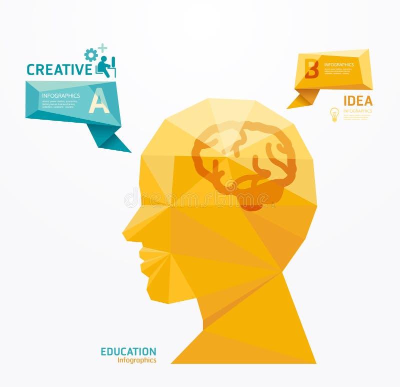 Modello infographic di progettazione moderna di stile geometrico della testa illustrazione di stock