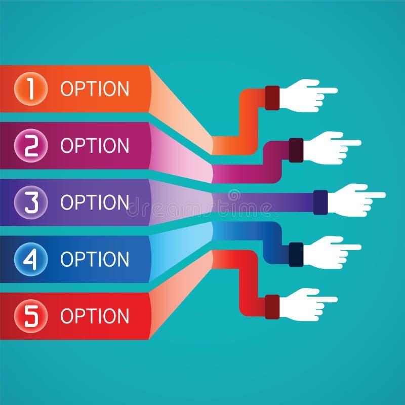 Modello infographic di vettore astratto nello stile piano per lo schema di flusso di lavoro della disposizione, numerato opzioni, illustrazione di stock