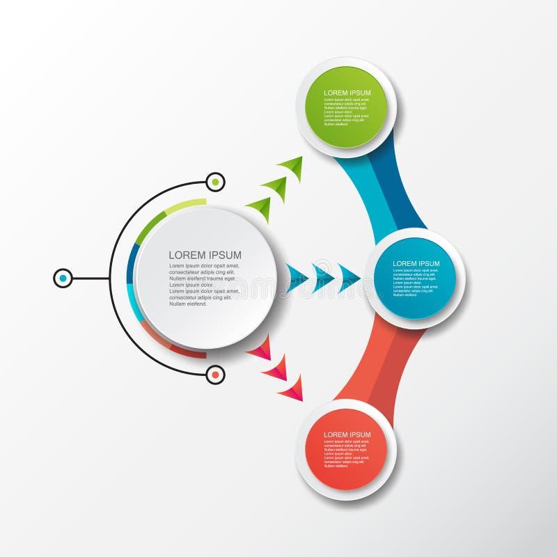 Modello infographic di vettore con l'etichetta della carta 3D, cerchi integrati Può essere usato per la disposizione di flusso di illustrazione vettoriale