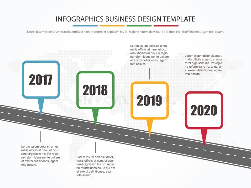 Modello infographic minimo di affari disposizione infographic di cronologia della pietra miliare di affari di 4 punti illustrazione di stock