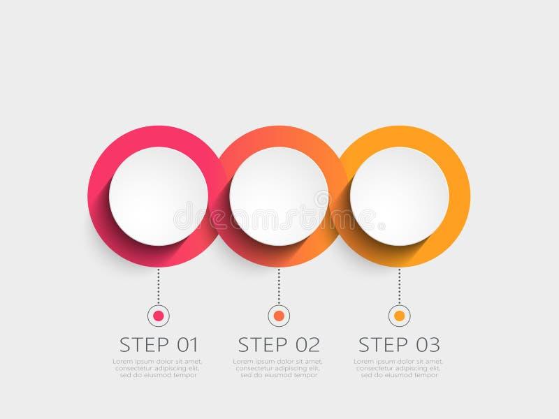 Modello infographic moderno 3D con 3 punti Modello del circolo con le opzioni per l'opuscolo, diagramma, flusso di lavoro, cronol royalty illustrazione gratis