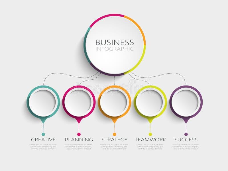 Modello infographic moderno 3D con 5 punti per successo Modello del circolo con le opzioni per l'opuscolo, diagramma, flusso di l illustrazione di stock